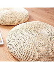 Meideli Woven Straw Cushion Round Tatami Mat Futon Meditation Cushion Handmade Chair Cushion for Home Yoga 40 * 40cm