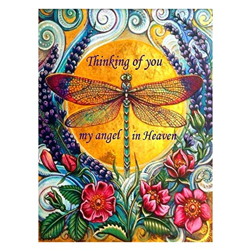 Ingzy 5D Diamond Painting by Number Kit for Adult Full Drill, Round Rhinestone Embroidery Kit Artwork Wall Decor - Angel Dragonfly(30x40cm)