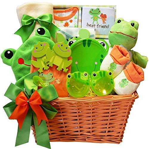 Art of Appreciation Gift Baskets Baby's Best Friend Frog Gift Basket, Neutral New Baby Hamper Gift