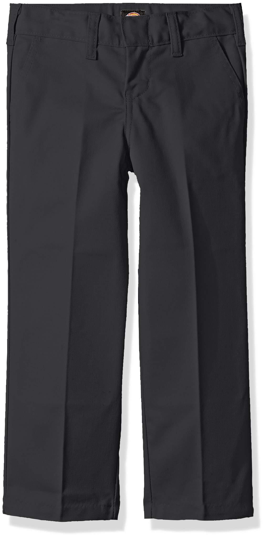 Dickies Kids Boys' Big Flexwaist Flat Front Straight Leg Pant, Charcoal, 10 Husky