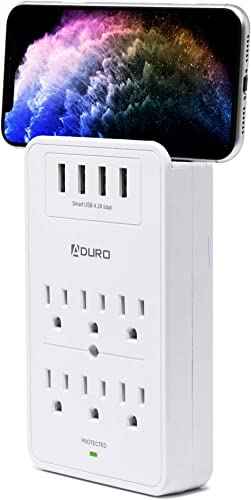 Aduro Surge Protector 6 Outlets Power Strip Station with USB 4 Ports 4.8A Wall Mount Multiple Outlet Splitter Extender Adapter with Phone Shelf Stand ETL Listed, White