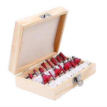 Holzfräsersatz aus Hartmetall 12-tlg 8 mm Schaft in Holzbox für Handoberfräse