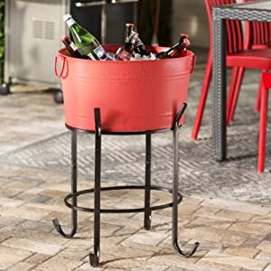 GWW Metal Oval Ice Bucket,Beverage Tub with Handle Large Capacity Cooler Bucket with Stand Wine Buckets for Bar-red 50x37x25cm(20x15x10inch)