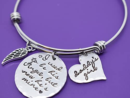 Sympathy Daddy/'s Girl Remembrance Gift I Was His Angel Now He/'s Mine Bracelet Hand Stamped Jewelry Father Loss Dad Memorial