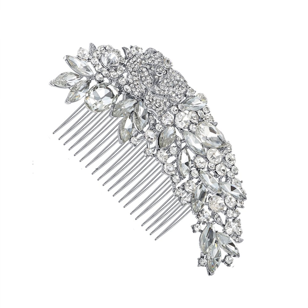 Leaf Shape Rhinestone Crystals Comb Clear Flower Hair Comb for Wedding Women Jewelry Hair Accessories Bridal Comb 9
