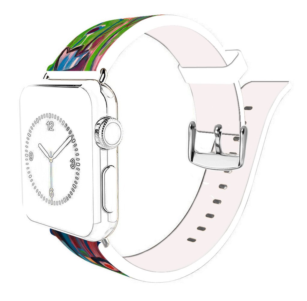 Strap Compatible for Apple Watch Series 4/3/2/1 44mm/42mm - ENDIY Designer Leather Fashionable Band Replacement for Iwatch Impression Line and Floor Pattern by ENDIY (Image #3)