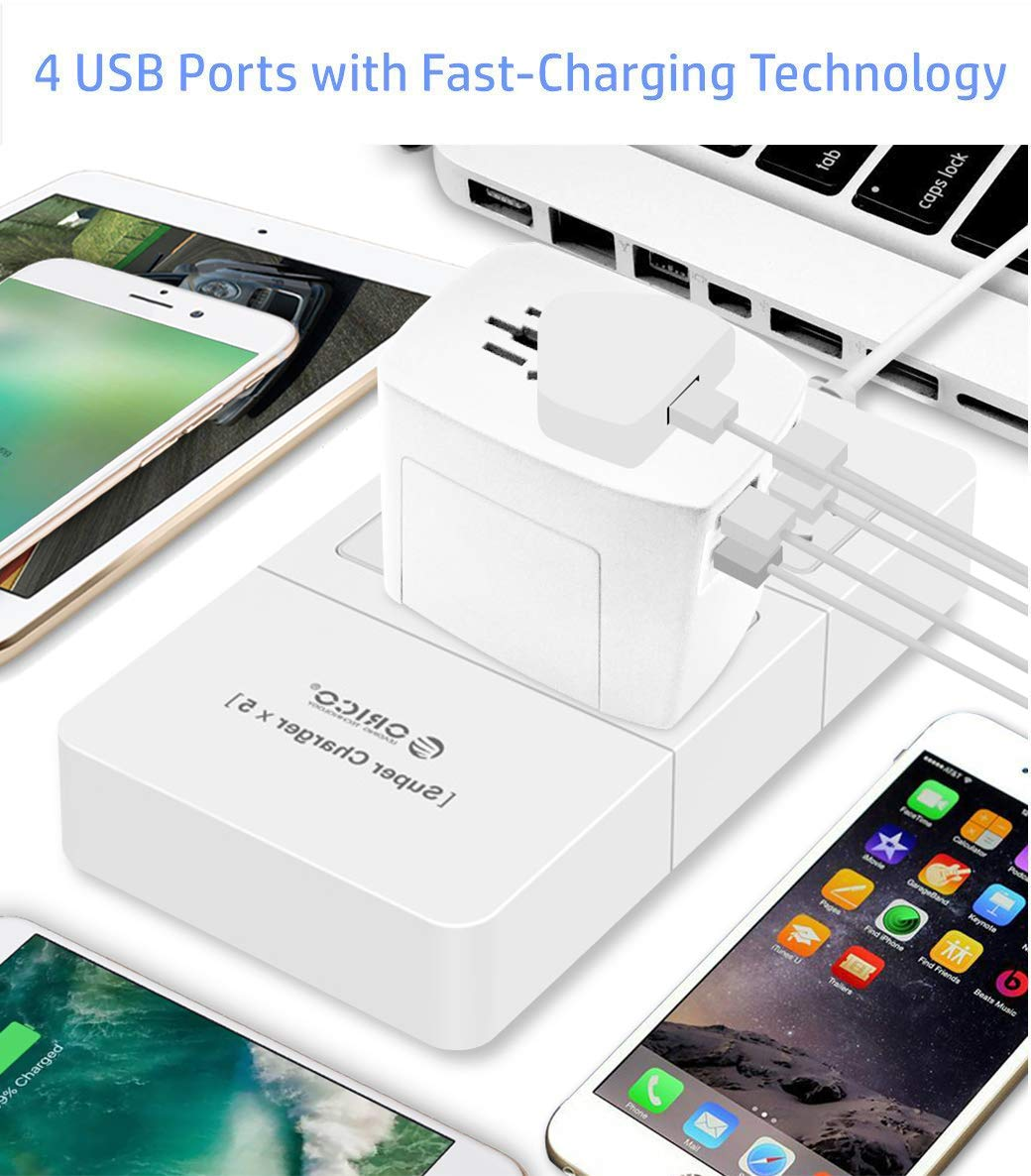 Travel Adapter, 2000W International Power Adapter, All in One Universal Power Adapter with 4 USB 3.0 Ports, for UK, EU, AU, US, Over 200 Countries ...