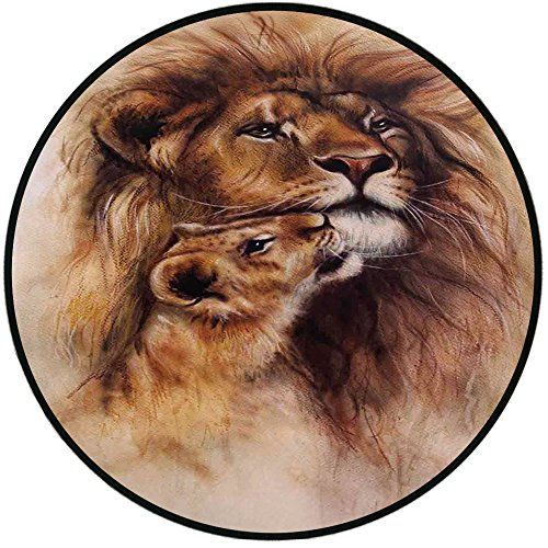 Printing Round Rug,Safari Decor,Painting of Loving Lion and her baby Cub Snuggle Wildlife Nature Expression Safary Theme Image Mat Non-Slip Soft Entrance Mat Door Floor Rug Area Rug For Chair Living R