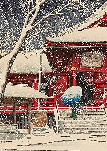 Snow at Kiyomizu Hall, Ueno - 5 x 7 Christmas Museum Card