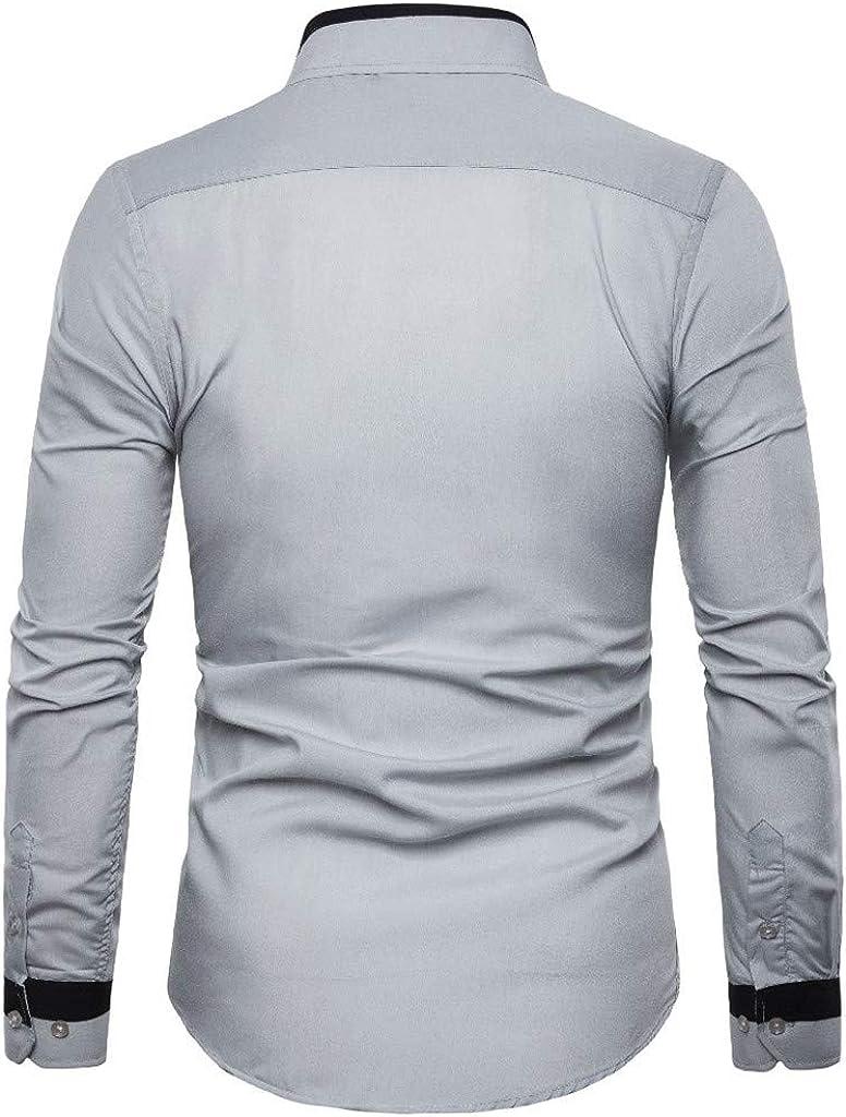 MODOQO Mens Dress Shirts Slim Fit Long Sleeve Button Down Shirt