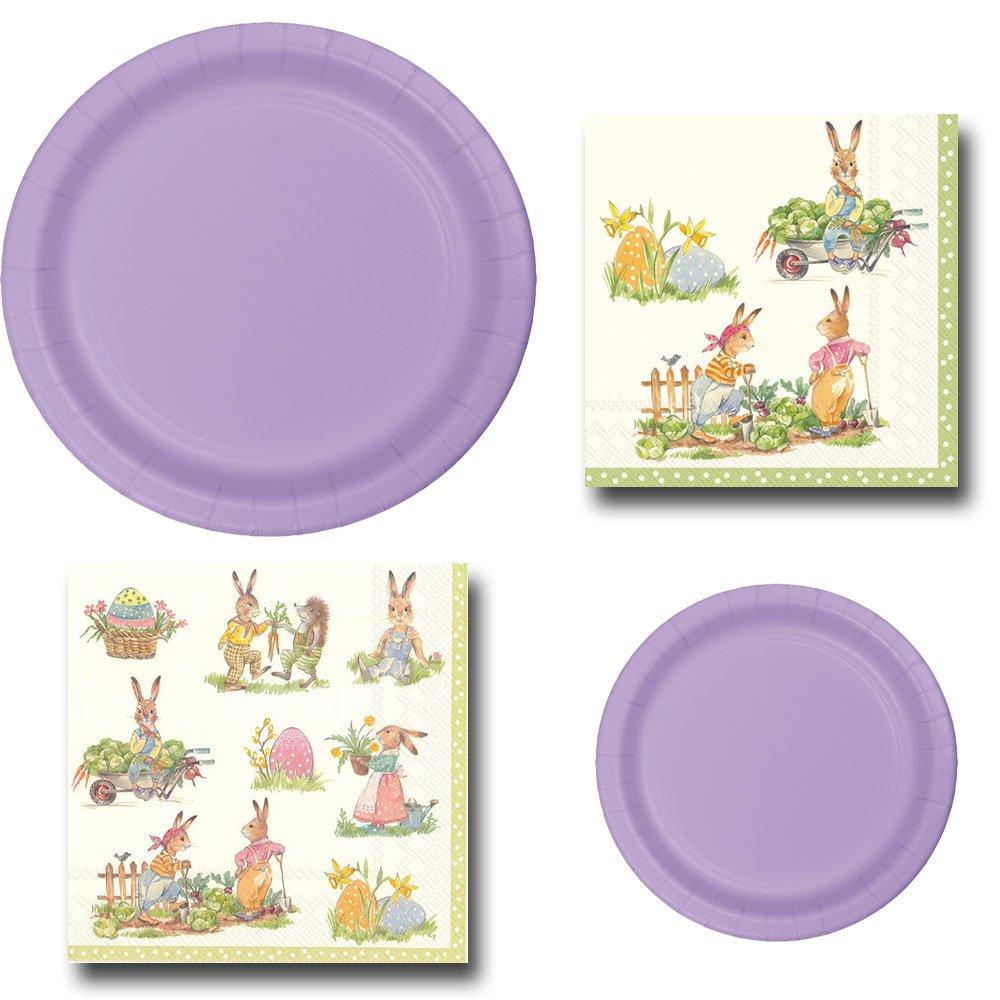Lavender Bunny Rabbit Garden Party Bundle Serves 20 Includes Disposable Paper Plates and Napkins Bundle, 4 Items (Lavender)