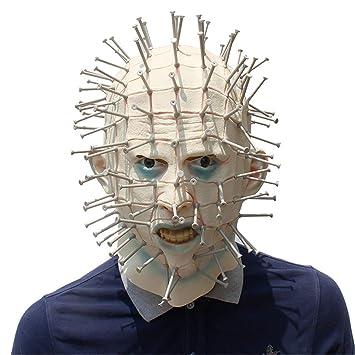 VUKUB Halloween Decoración Horror Persiguiendo Alma Clavo Máscara Disfraz Máscara Cosplay Full Head Máscara Látex Fuego