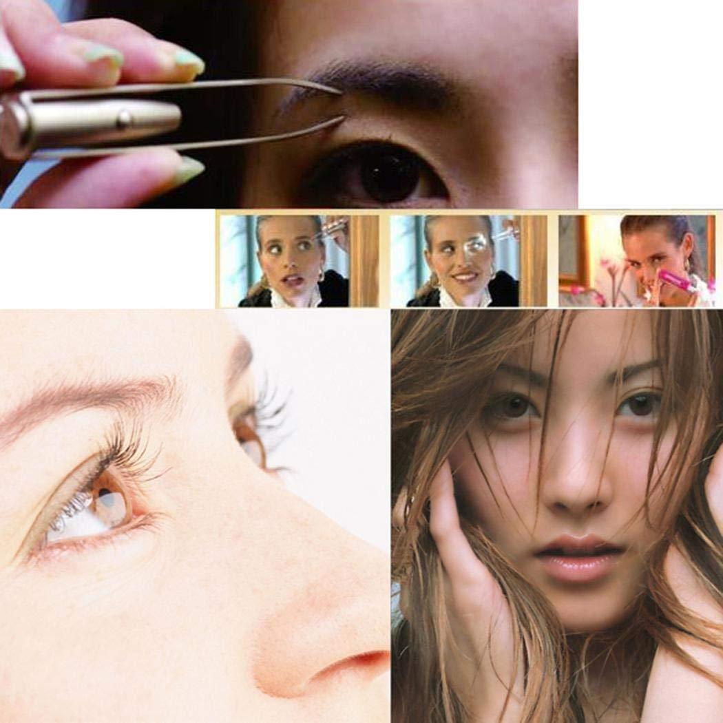 Xixini Pinza de ceja de maquillaje para mujeres Pinza de cejas con luz LED