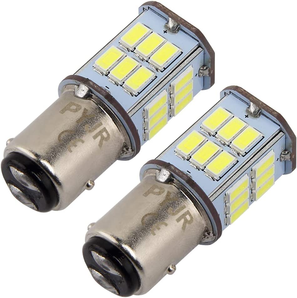 1157 BAY15D P21W bombilla led de freno, PYJR 5W DC10-30V Voltaje ancho Luz blanca 6000K, para RV, automóvil, motocicleta, 2 unidades