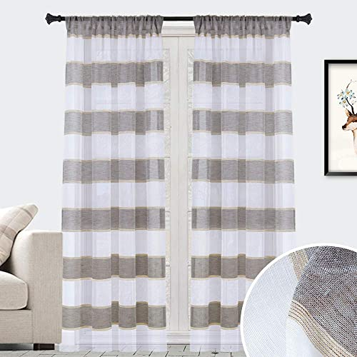 GRALI 95 Long Linen Striped Curtains, Chic Zebra Drapes Window Coverings for Light Filtering Privacy Protect 52 Wide, 2 Panels, Tan-Brown