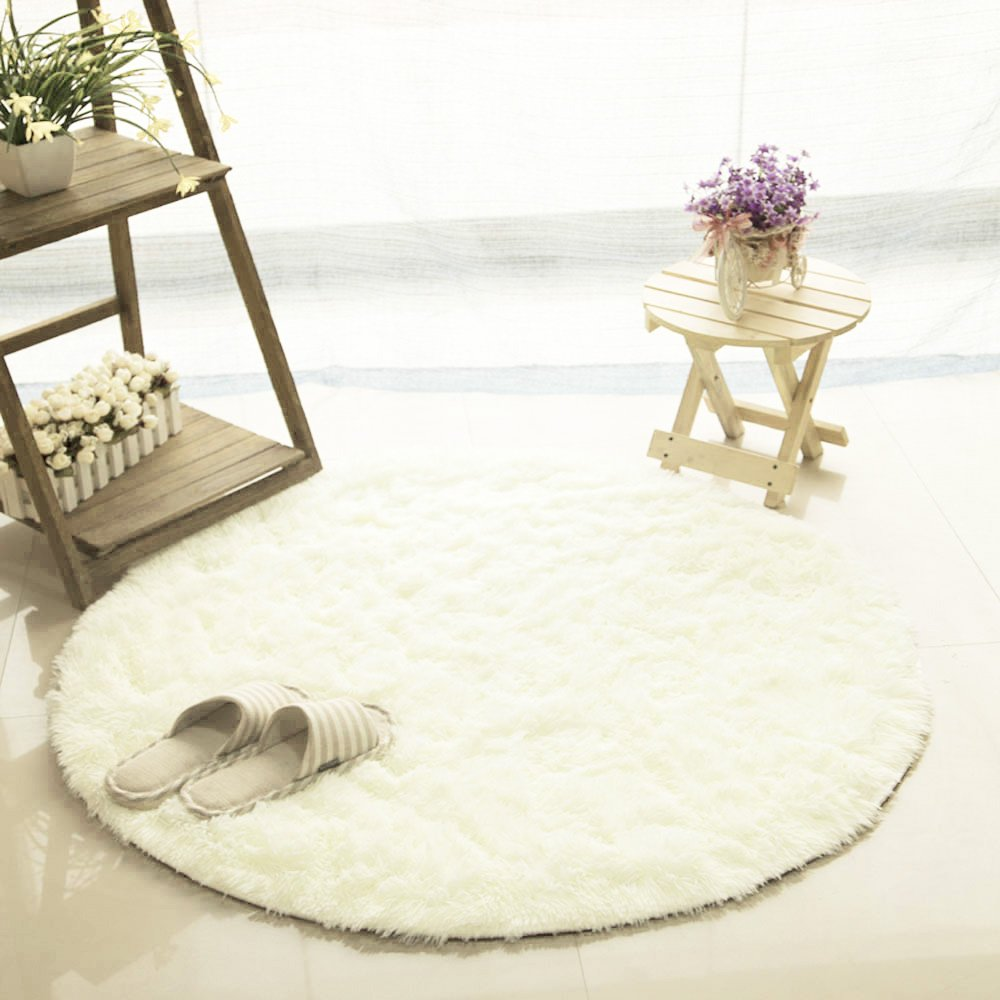 Circle Smooth Living Room Mat Area Rugs Carpet Doormat Floor Mat Bedroom Kitchen Sofa Cushion Non-Slip Foot Pad Rug (120x120, White)