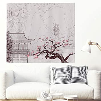 Tapiz de pared con flores de cerezo y árbol, japonés, para colgar en la pared, para dormitorio, playa o mantel 100 x 150 cm Rosa: Amazon.es: Hogar