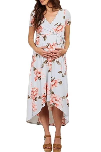 cf6d5174e Vestido De Maternidad De Mujeres Manga Las Corta Modernas Casual con Cuello  En V Vestidos Florales