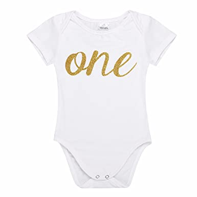 FEESHOW Baby Girls Flutter Sleeves My First 1st Birthday Outfit Romper Bodysuit Party Dress Up Clothes