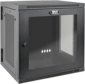 Tripp Lite 12U Wall Mount Rack Enclosure Server Cabinet with Acrylic Glass Door, Hinged Back, 24.5 in. Deep, UPS-Depth (SRW12USDPG),Black