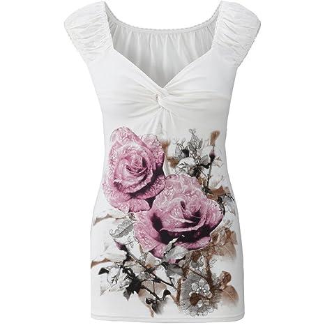 Camisa sin mangas para mujer Sexy Verano Casual Estampado floral Camisola Camiseta Blusa Chaleco Camisetas sin