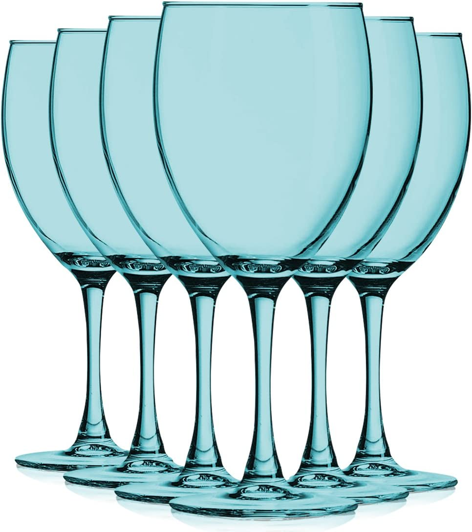 Amazon Com Aqua 10 Oz Nuance Full Accent Wine Glasses Set Of 6 By Tabletop King Additional Vibrant Colors Available Wine Glasses