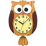 ふくろう 掛け時計 WALLCLOCK クロック リス 台湾製 MAKINOUデザイン (ナチュラル)
