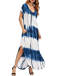 LEERYAAY Work&Casual Women's Casual Maxi Short Sleeve Split Tie Dye Long Dresses