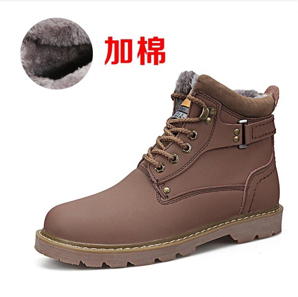 TMKOO Winter Neue High Top Männer Schuhe Britischen Retro Warme Schneeschuhe Outdoor Casual Schuhe Männer Große Schuhe (Color : Dark Brown  Größe : 43) Light Brown+wool