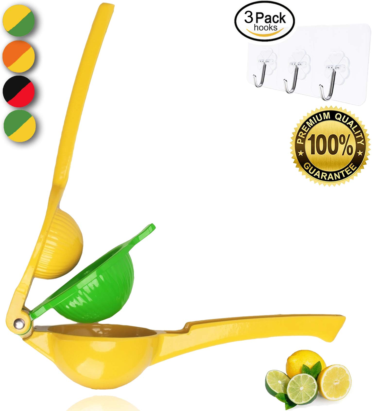 Yimobra Manual Lemon Squeezer,Hand Citrus Lime Juicer Press Premium Quality Professional Kitchen Tool Yellow (Presented Wall Hooks 3 Pack)