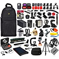 Opteka Solar Charger + 32GB Memory + Tripod + Skeleton Housing + Microphone + X-Grip + LED Light + Car Mount + Travel Case + Selfie Stick + More For GoPro Hero4 Cameras
