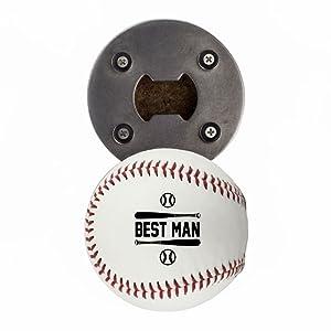 Best Man Baseball Gift, Made from a real Baseball, The BaseballOpener, Cap Catcher, Refrigerator Magnet