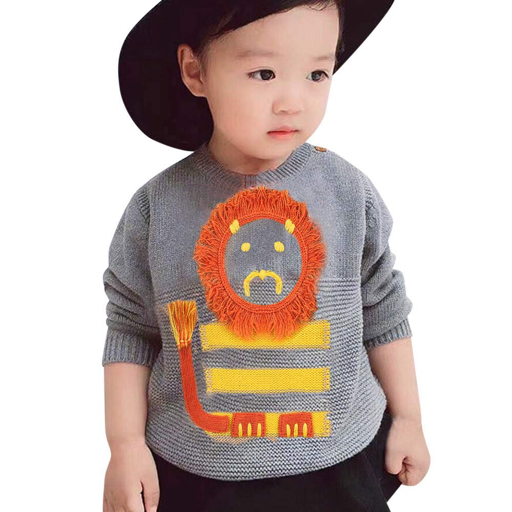 Saihui_Kids Clothes Baby Boys Girls Sweater Infant Kids Casual Cartoon Lion Knitted Long Sleeve Pullover Tops 0-24 Months