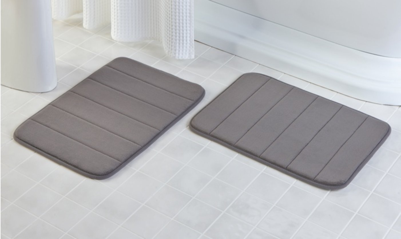 YunNasi 40 x 60 cm Memory Foam Baby Bath Mat Rug Set Non Slip, Pack of 2 piece (Storm grey)
