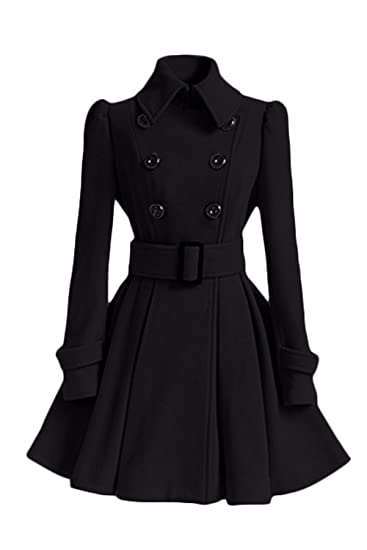 Amazon.com: Women Winter Elegant Double Breasted Lined Trenchcoat Warm Outercoat with Belt: Clothing