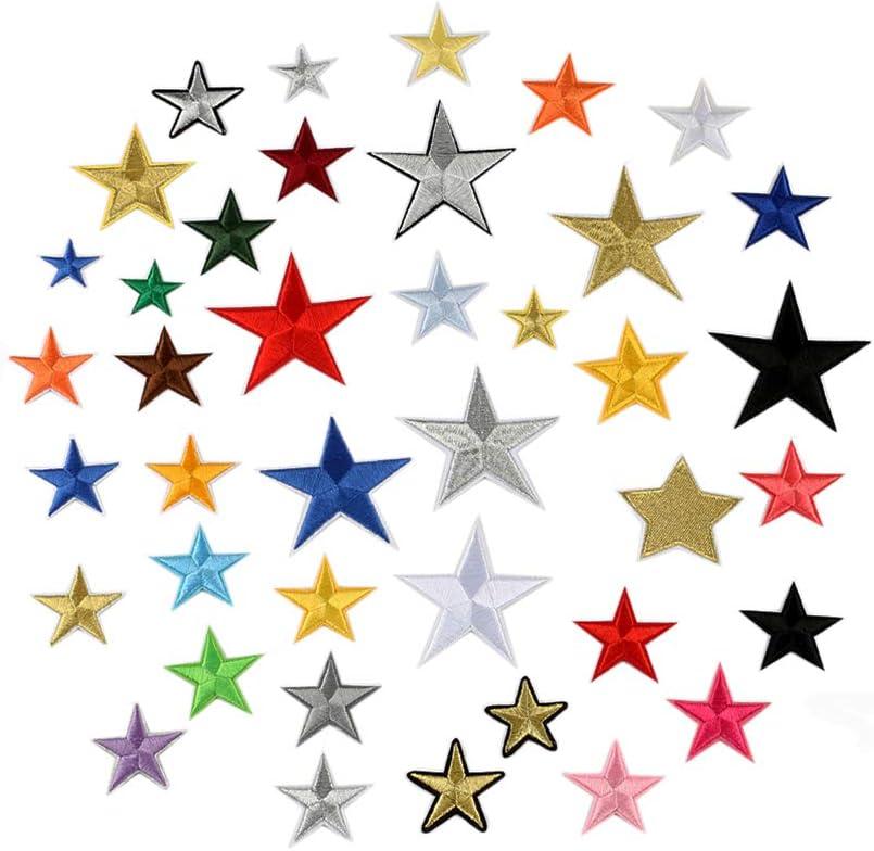 Juland 36PCS Parches bordados Autoadhesivo Pentagram bordado Mochilas personalizadas de cinco puntas en forma de estrella para hombres, mujeres, niños, niñas, niños