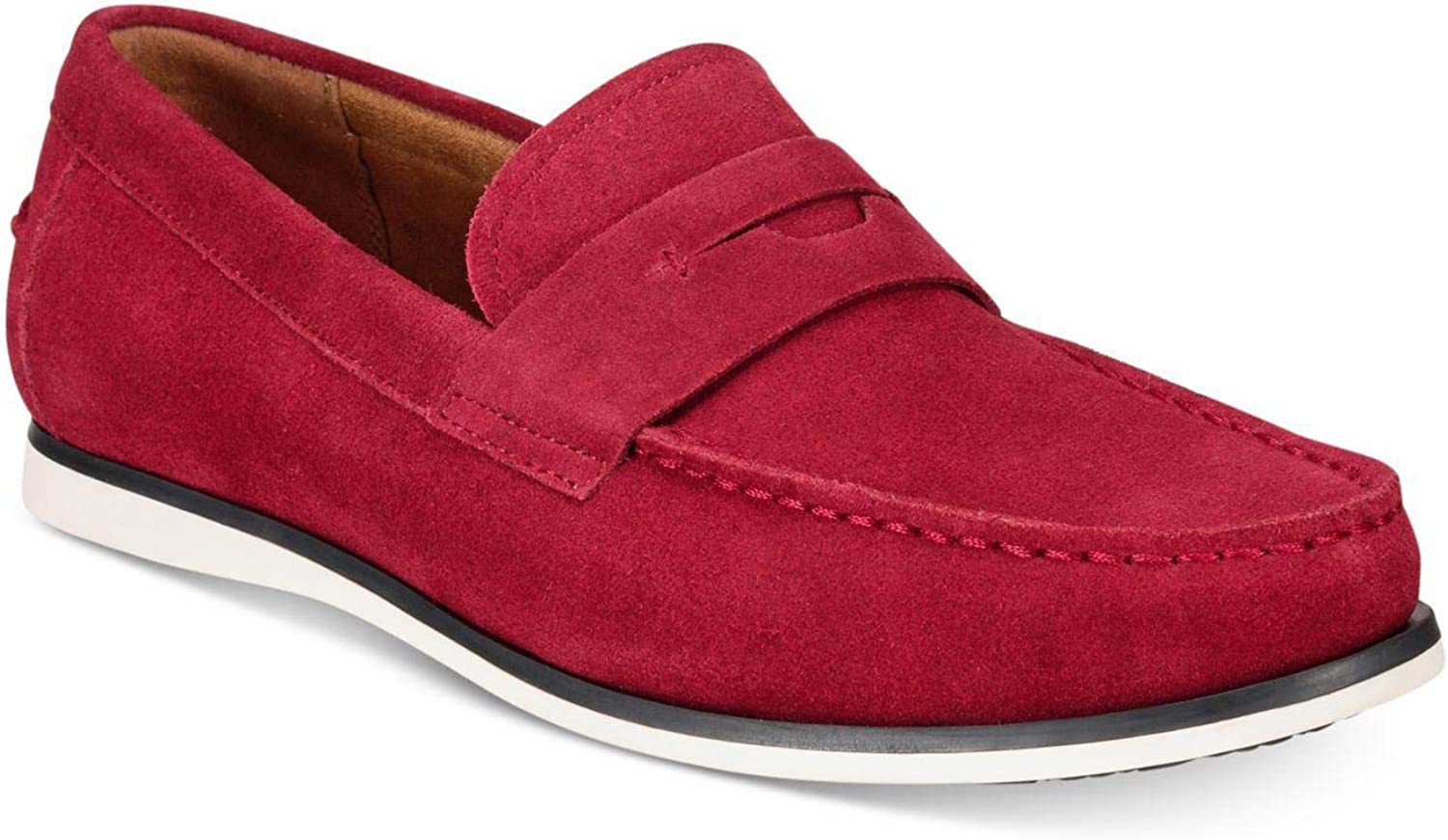 Red Size 11.0 Alfani Mens Sawyer Leather Closed Toe Penny Loafer