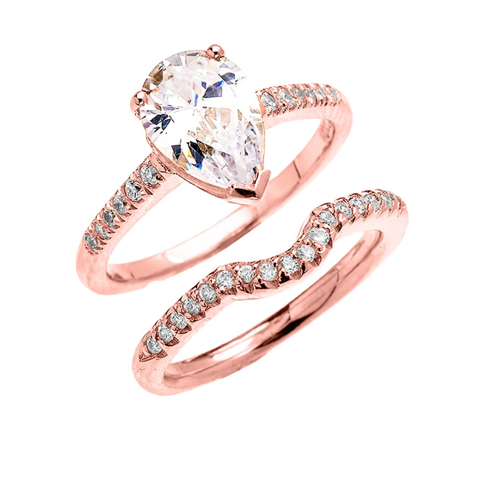 14k Rose Gold Dainty Diamond Wedding Ring Set with Pear Shape Cubic Zirconia Center Stone(Size 10)