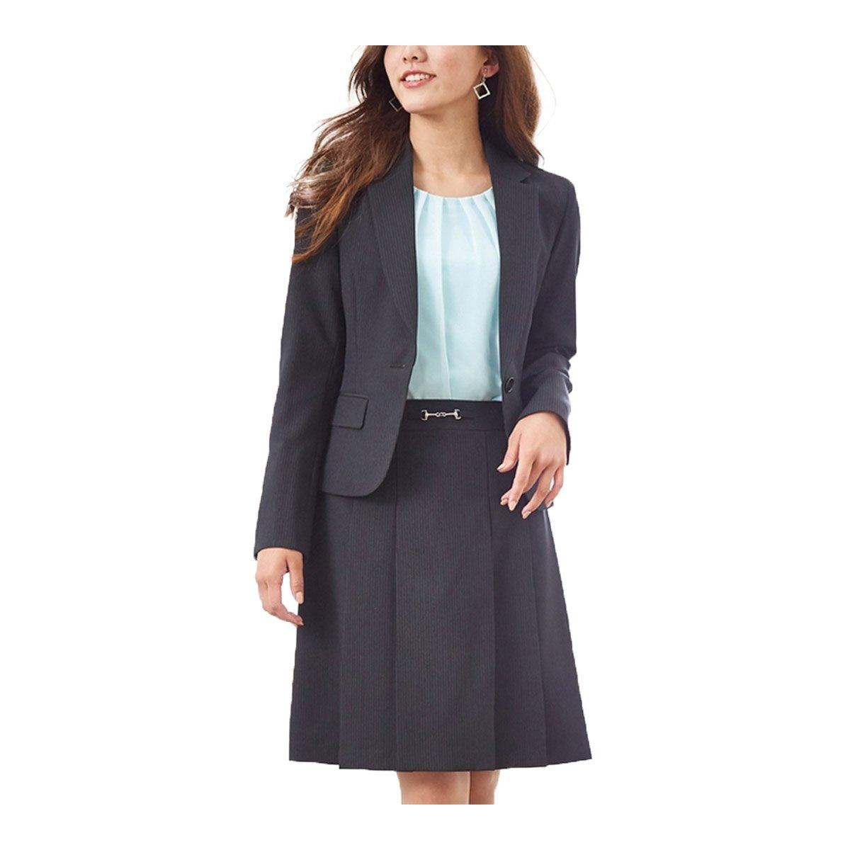 (ニッセン) nissen スーツ 上下 セットアップ ジャケット スカート 洗える オフィス ビジネス レディース B077TN9LMD 7号|黒 × ブルーストライプ 黒 × ブルーストライプ 7号