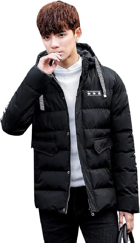 willwinMen WillingStart Mens Hood Juniors Warm Solid Color Plus Size Down Jacket