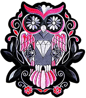 "8.5""x9.5"" Big Jumbo Large Diamond Owl Rose Punk Rock Retro Hippie Motorcycles Chopper Lady Rider Biker Hog Outlaw Tatoo Back Jacket T-shirt Patch Sew Iron on Embroidered Sign Badge Costume"