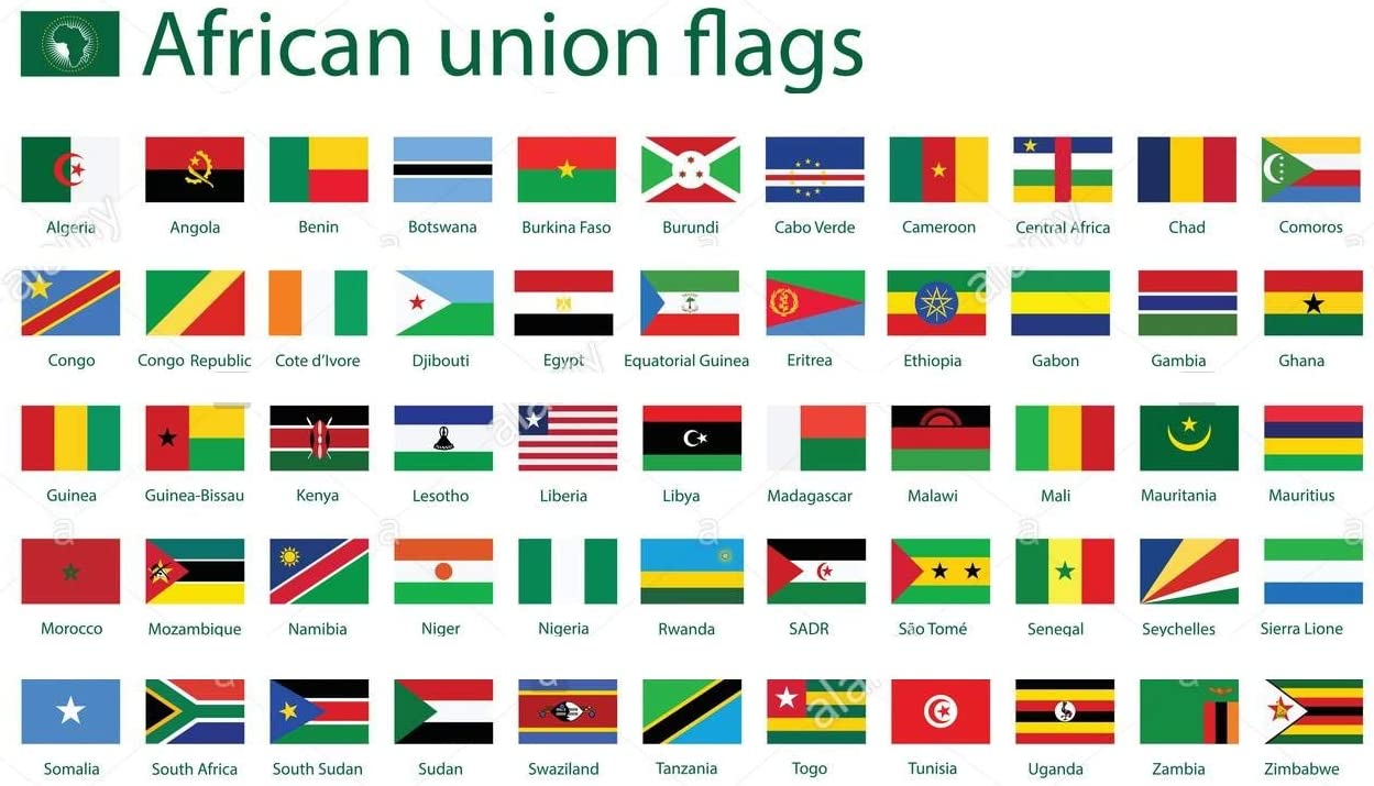 Amazon.com: African Union 3' x 5' Polyester World Flag SET-56 Polyester  3'x5' Flags, One Flag for Each Country in The African Union, Includes The  African Union Flag: Office Products