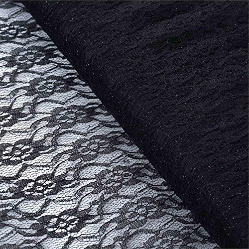 BalsaCircle 54-Inch x 15 Yards Black Glittered Lace Fabric by The Bolt - Wedding Party Decorations Sewing DIY Crafts Costumes