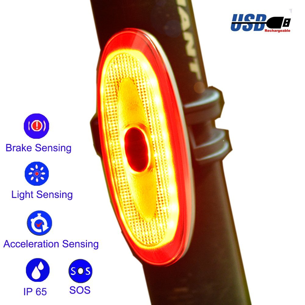 G Keni Bike Taillight Wireless Rear Bike Light USB Rechargeable LED Bicycle Brake Smart Warning Tail Light Daylight Sensing Waterproof