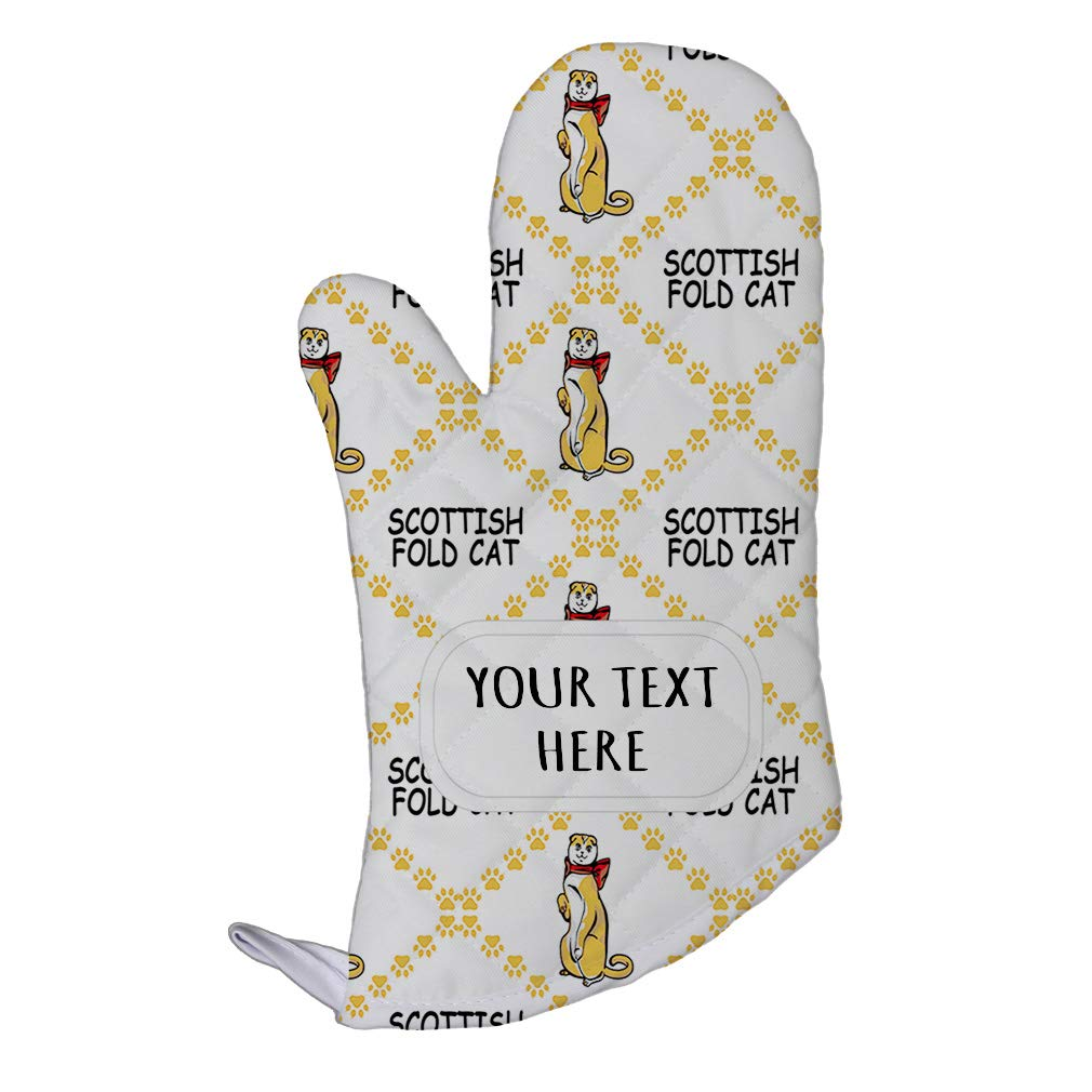 Style In Print Polyester Oven Mitt Custom Scottish Fold Cat Paws Pattern F Adults Kitchen Mittens