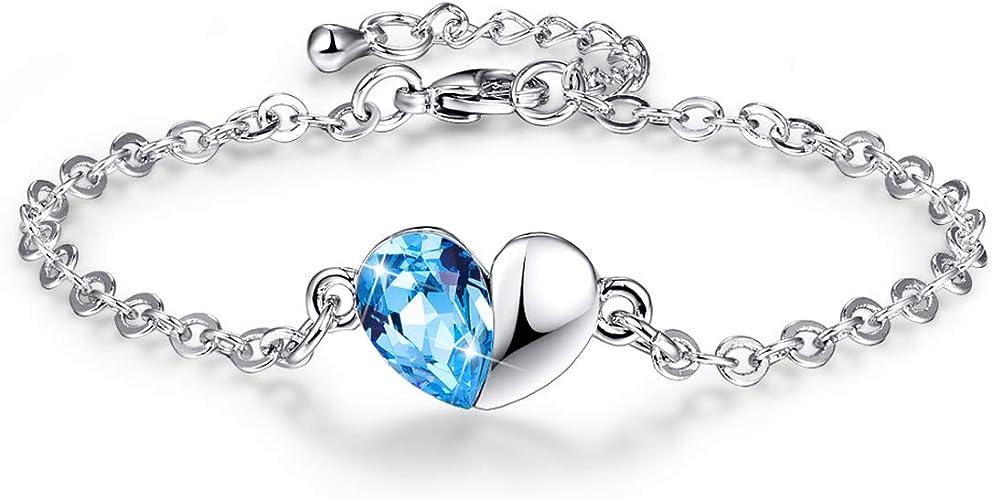 Bonlavie Bracelet Femme Amour Charme Coeur Bleu de Cristaux ...