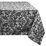 DII 100% Cotton, Machine Washable, Everyday Damask Kitchen Tablecloth For Dinner Parties, Summer & Outdoor Picnics - 52x52
