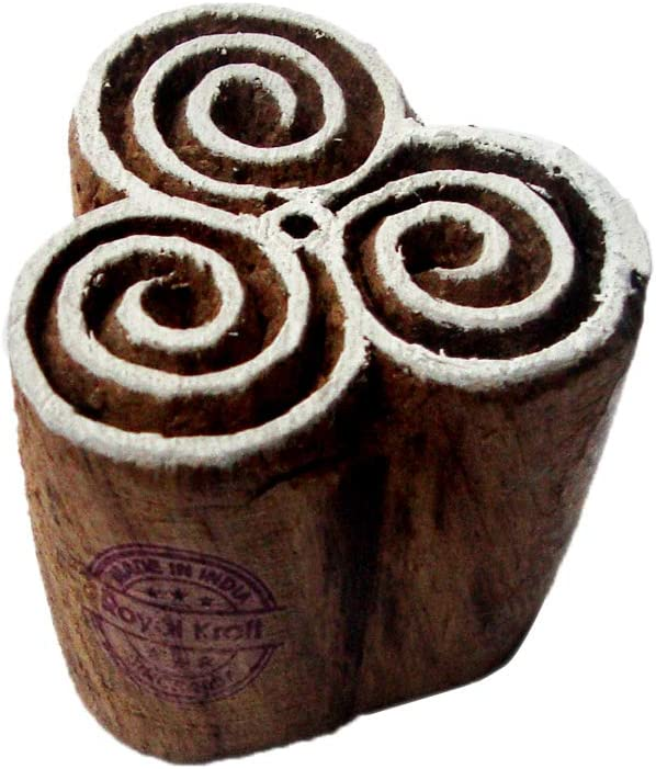 Royal Kraft Leaf Wooden Round Printing Block Stamp DIY Henna Fabric Textile Paper Clay Pottery Block Printing Stamp TBtag017