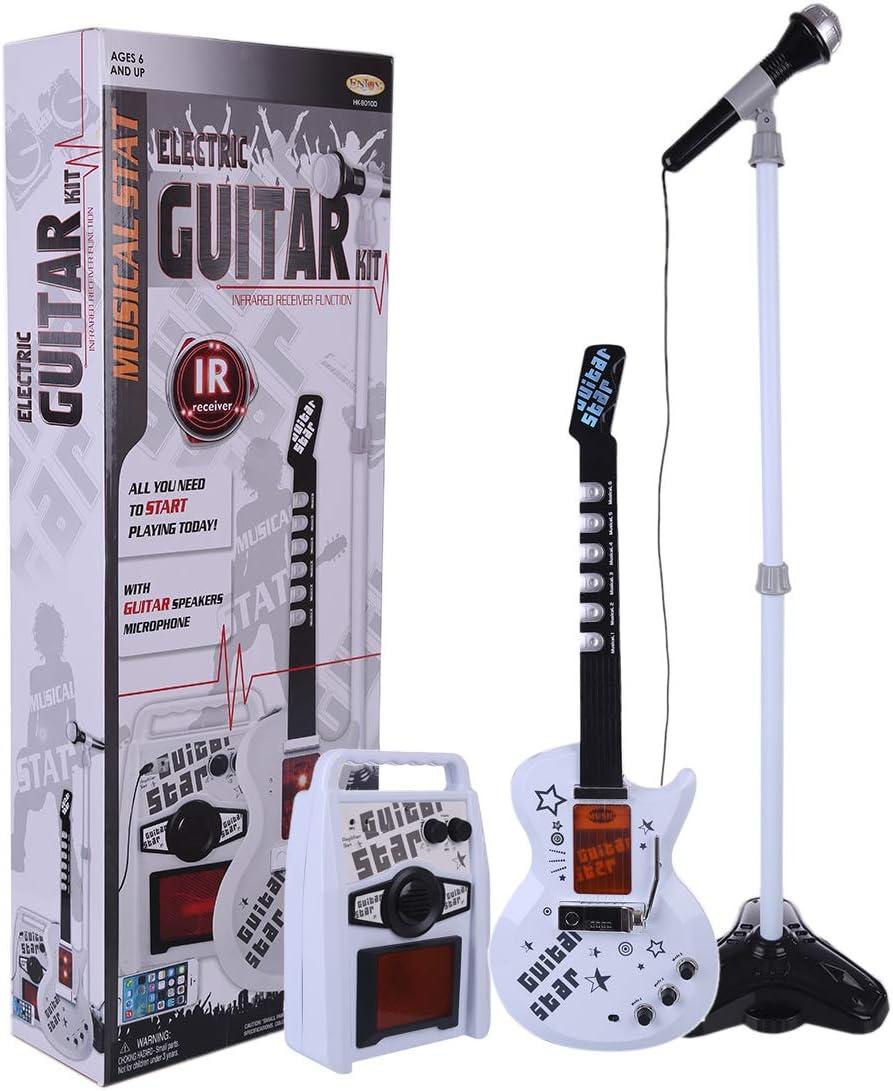 ZUJI Guitarra Juguete Guitarra Electrica Niños Infantil Instrumentos Musicales con Micrófono Karaoke y Caja Altavoz y Soporte Ajustable
