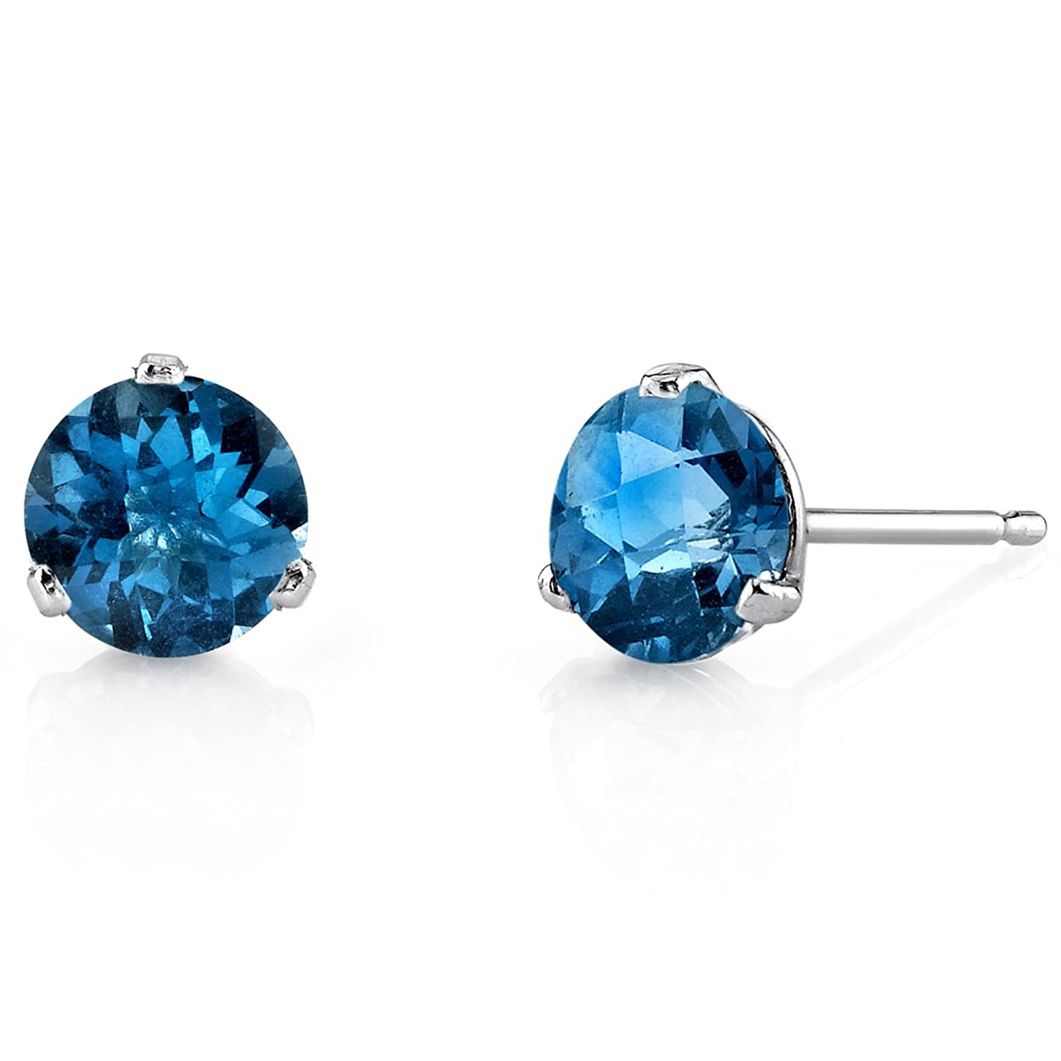 14 Kt White Gold Martini Style Round Cut 2.00 Carats London Blue Topaz Stud Earrings
